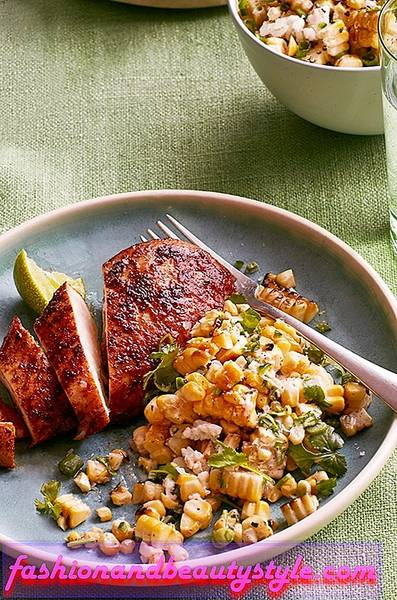 Smoky Chicken with Charred-Corn Salad